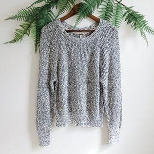 Free People Black & White Crewneck Knit Sweater